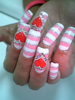 ★Stripe and Heart nails★