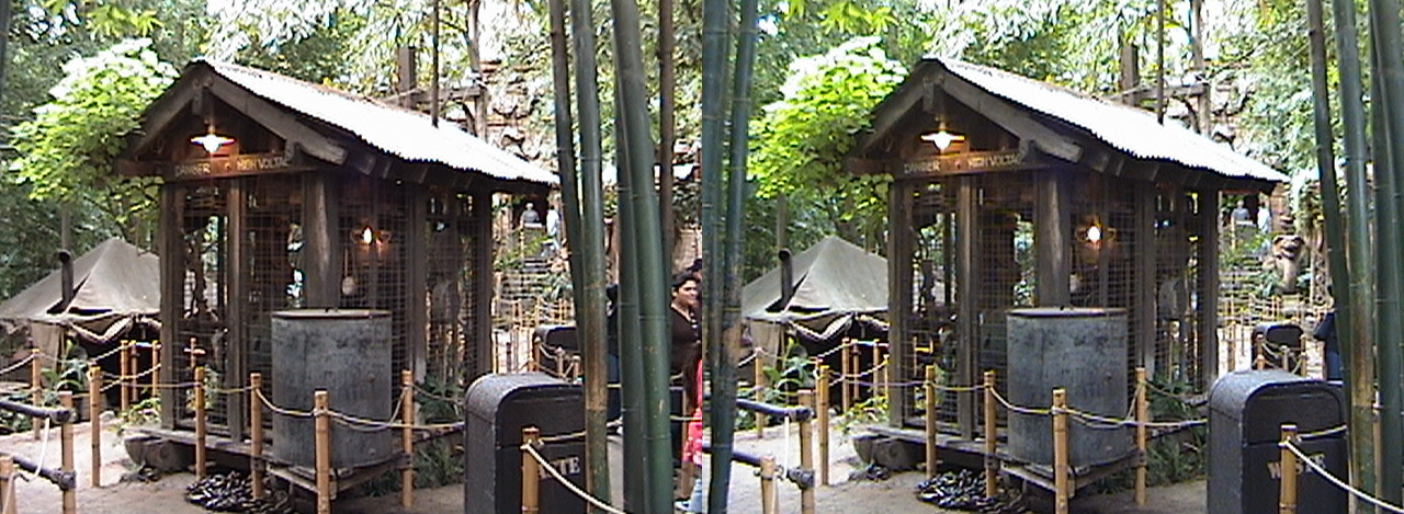 3D, Generator, Lost Delta Camp, view from Rope Bridge, Queue, Indiana Jones™ Adventure - The Temple of the Forbidden Eye, Adventureland, Disneyland®, Anaheim, California, 2009.02.23 13:20