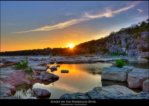 sunset sun reflection water rock river twilight stream texas tx sunsetreflection hdr pedernales pedernalesriver pedernalesstatepark photomatix 3exp the4elements capturenx2 oxherder texassatepark