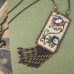 Moss and Burgundy Embroidered Tapestry Necklace with Vintage Rhinestones
