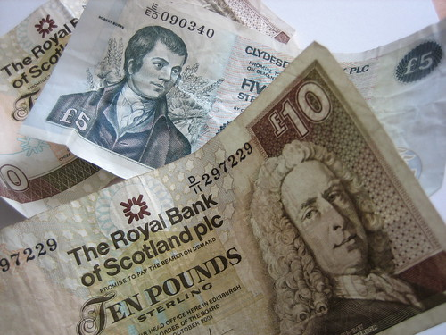Scottish five and ten pound notes