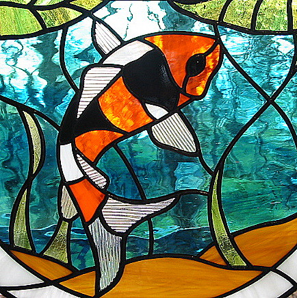 Fish stained glass pattern free lena patterns for Stained glass fish