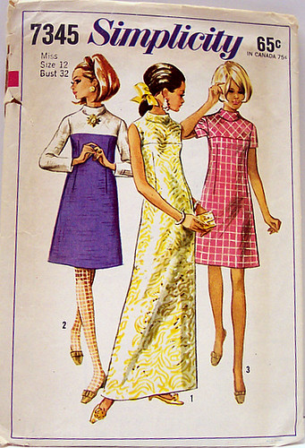 Simplicity 7345 Vintage 60's Sewing Pattern Mod A-Line Color Blocked Dress in Two Lengths