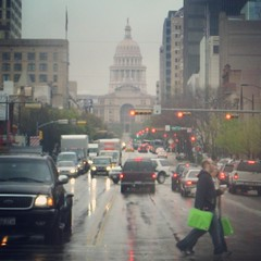 About to grab some grub with Ian and his little bride. My wedding obligations fulfilled, my schedule is clear 'til Tuesday. Austin peeps message me a time/day and we'll hang. Rainy days and SXSW be damned. #ATX #Austin #capitol #drizzle #SXSW