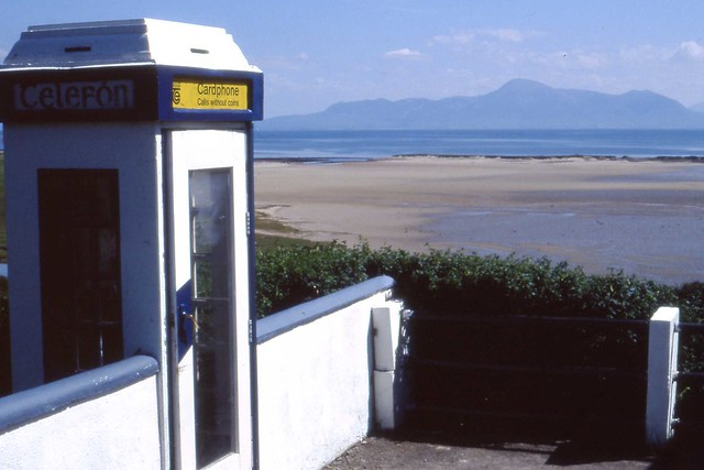 Mulrany Bay and Telephone kiosk, Aug 1994  Co Mayo Ireland