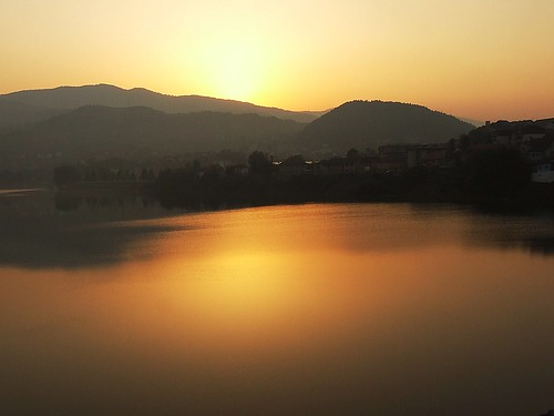 sunset sky water sunrise river landscape town hill absolutelystunningscapes