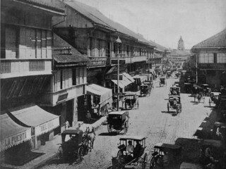 Escolta Street, Manila, Philippines, Picture in Leslie's Weekly, New York, USA, January 27, 1900