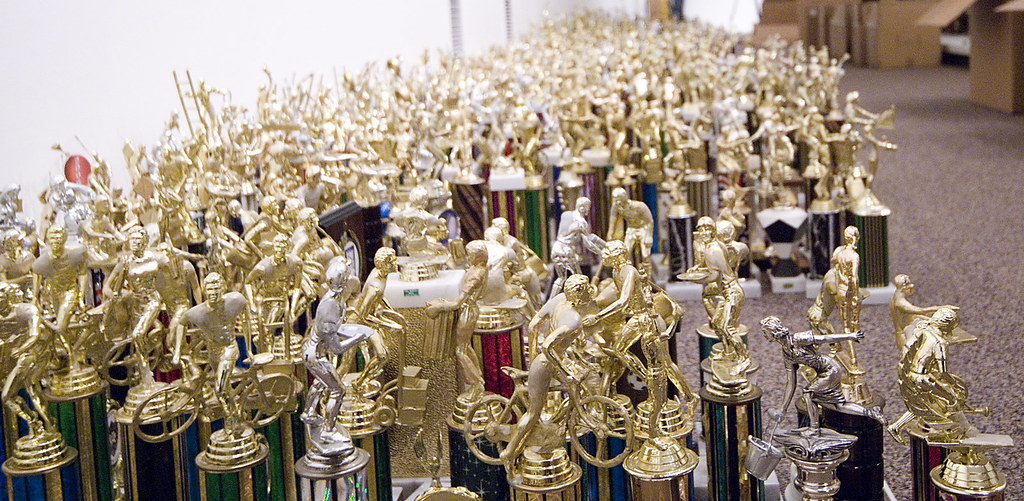 Trophies waiting to be installed