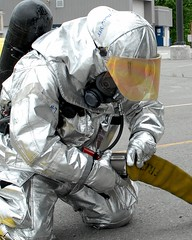 hazmat suit, person,