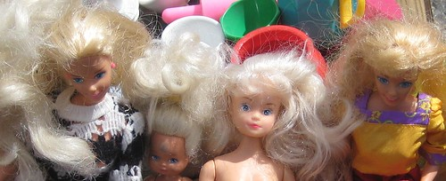 Barbie dolls at the flea market by Anna Amnell