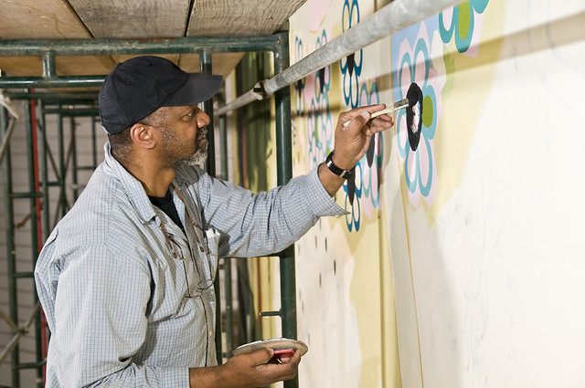 Kerry James Marshall working on Art in the Atrium mural ...