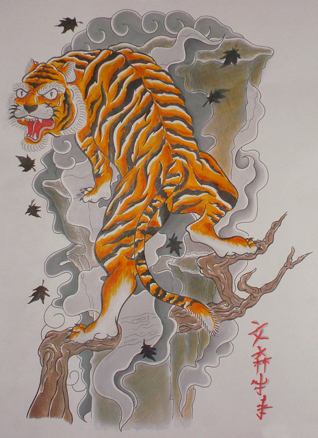 japanese tiger tattoo made in markers