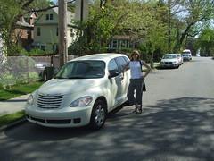 minivan(0.0), compact sport utility vehicle(0.0), automobile(1.0), automotive exterior(1.0), executive car(1.0), wheel(1.0), vehicle(1.0), chrysler pt cruiser(1.0), chrysler(1.0), land vehicle(1.0), motor vehicle(1.0),