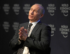 Vladimir Putin - his authoritarian rule in Russia is being challenged by a new wave of protest.  Image from the World Economic Forum's photostream