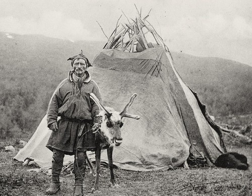 Saami man with Lavvo and reindeer Lyngen Troms 1909