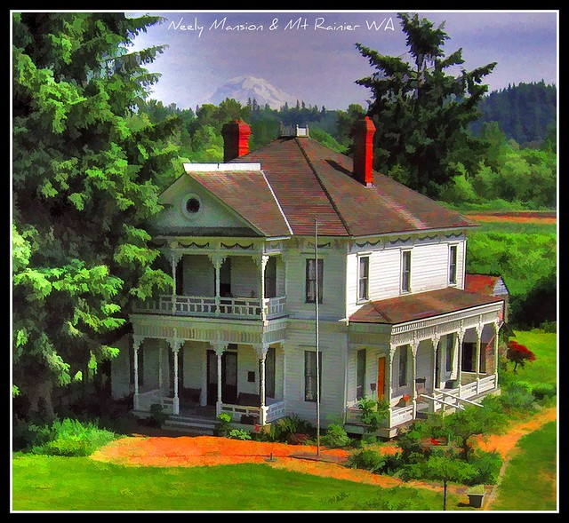 Neely Mansion w/Mt Rainier in background