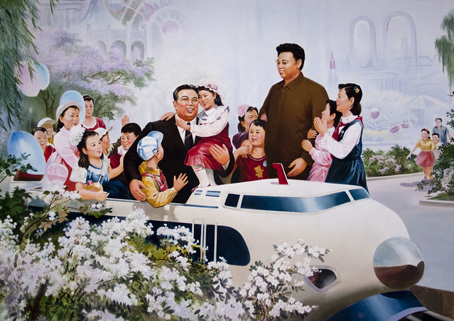 Kim Jong Il and Kim Il Sung and the kids - North korea