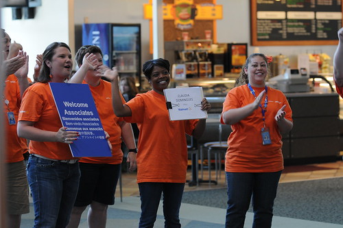 Walmart event staff welcome visiting associates at XNA