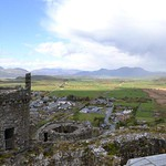 Harlech castle and view of Snowdonia mountains