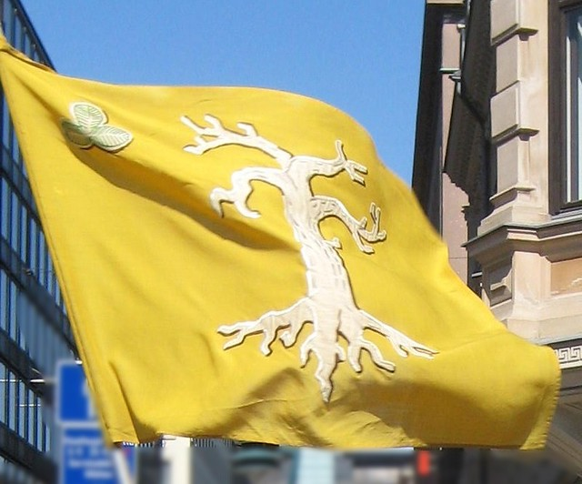 A yellow banner