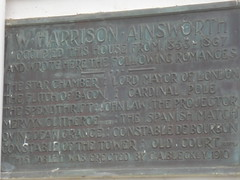 Photo of W. Harrison Ainsworth bronze plaque