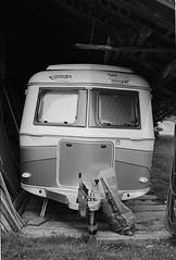 automobile, art, automotive exterior, vehicle, monochrome photography, monochrome, black-and-white, travel trailer,