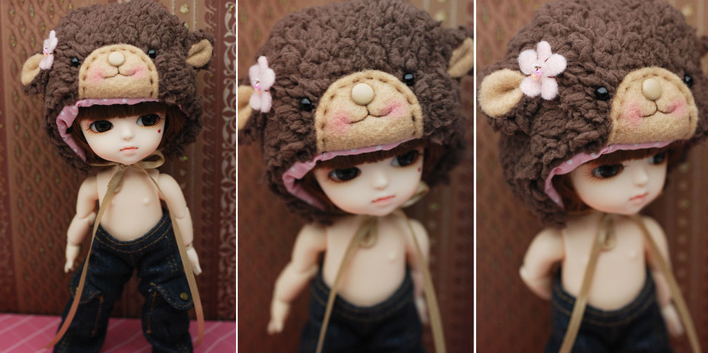 Latidoll yellow animal hat - brown bear