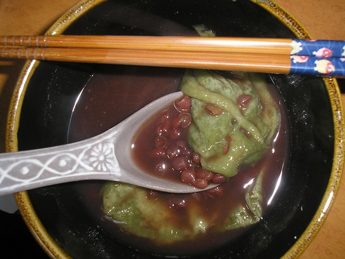 Oshiruko with mochi (red bean soup with mochi)