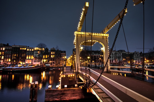 bridge urban reflection water amsterdam architecture buildings lights canal twilight construction view nightshot bright thenetherlands center magerebrug drawbridge 1020mm hdr gable kerkstraat amstel skinnybridge amstelriver theperfectphotographer