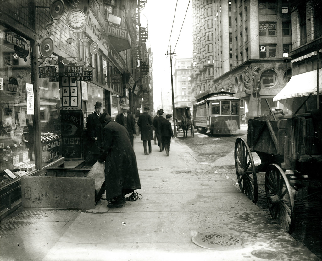 Olive Street looking west from Seventh Street, ca. 1900