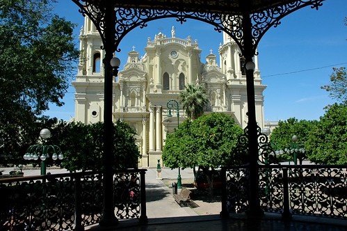 Catholic Church through the detail of the Iron Gazebo, Town Square, Hermosilla, Jalisco, Mexico by Wonderlane