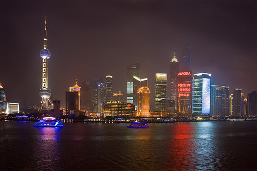 Shanghai skyline at night (Pudong)