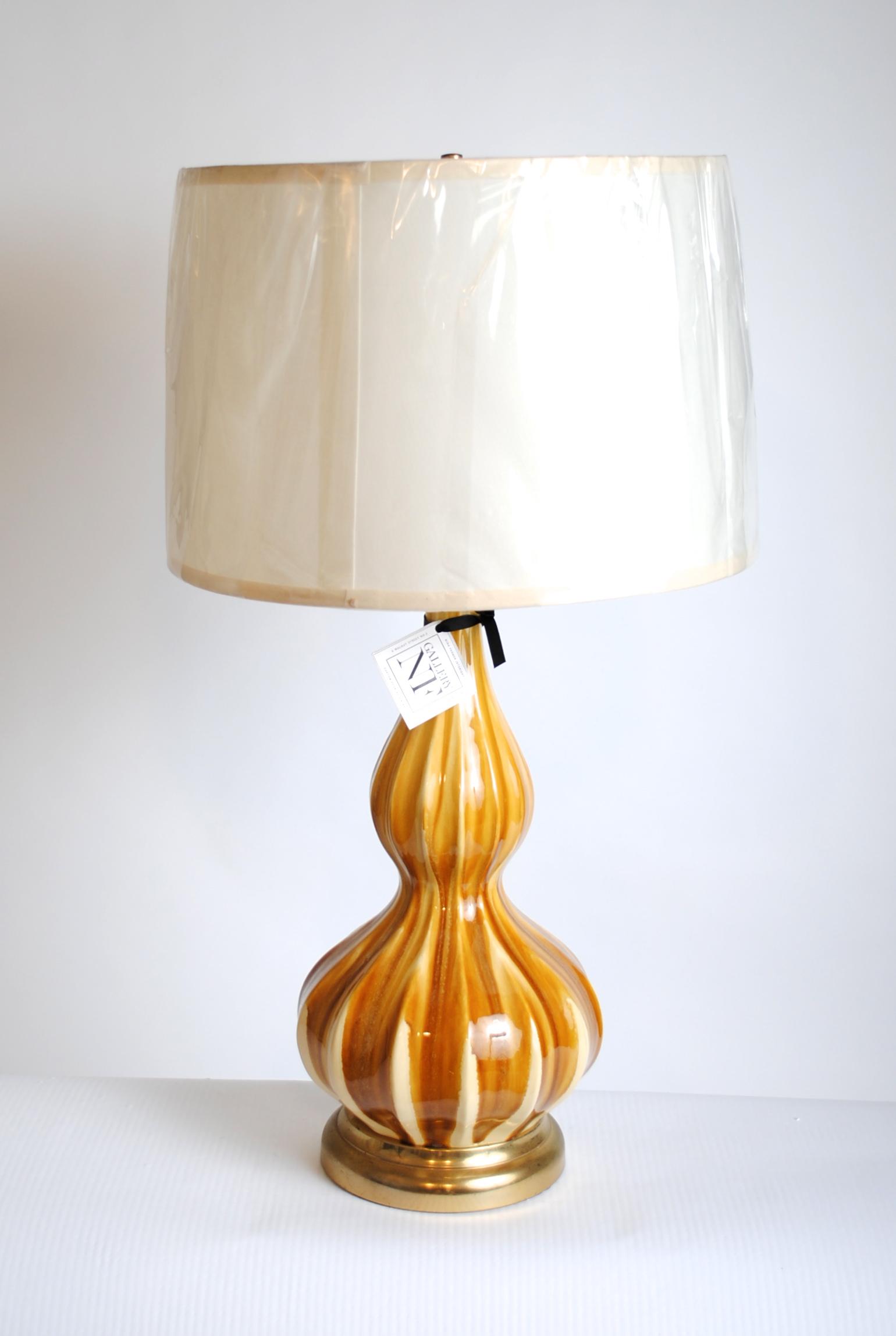 Vintage Gourd Camel Glaze Lamps (Set of 2)