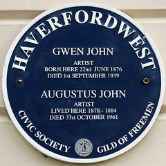 Photo of Gwen John and Augustus John blue plaque