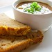 Fado Irish Pub Soup of the Day with cheddar chive Guinness bread