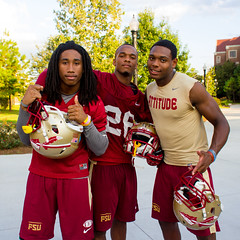 Florida State Seminoles defensive backs Ronald Darby (3), P.J. Williams (26) and another player outside the Albert J. Dunlap Athletic Training Facility football practice fields in Tallahassee, Florida on October 8, 2013.