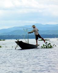 Inle Lake one leg fisherman a