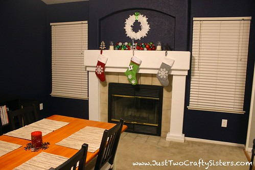Holiday decorating and festive mantel