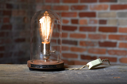 Bell Jar Table Lamp by Southern Lights TN, Refurbished Vintage Lighting