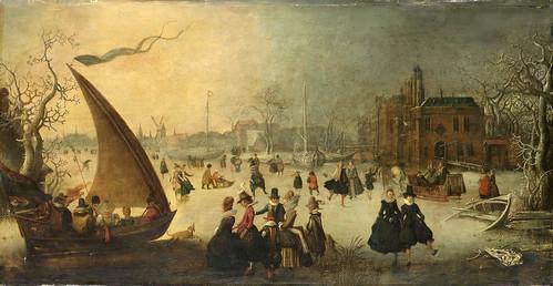010-Paisaje con un canal congelado y patinadores, Adam van Breen, 1611-Rijkmuseum