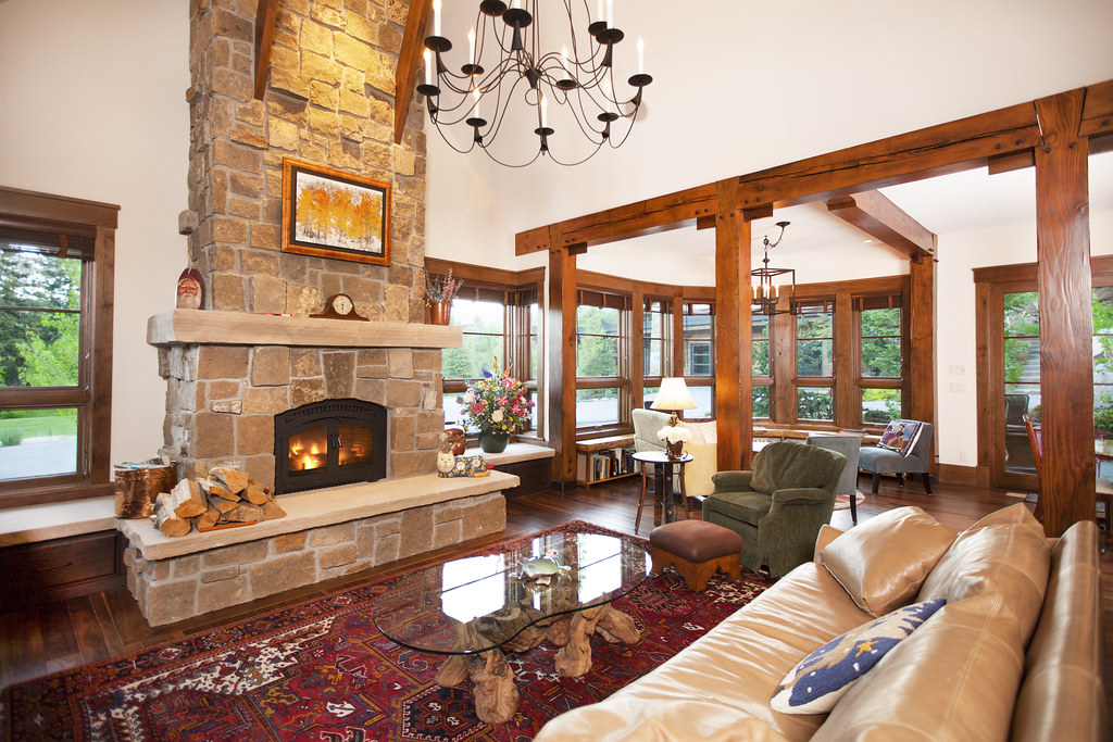 wood burning fireplace, 11 E. Spruce St, Steamboat Springs, floor to ceiling fireplace, rock