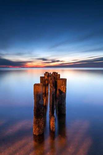 longexposure beach clouds surf maryland newyear northbeach barnacles pilings pylons chesapeakebay 2014 dawnpatrol woodensoldiers firstsunrise