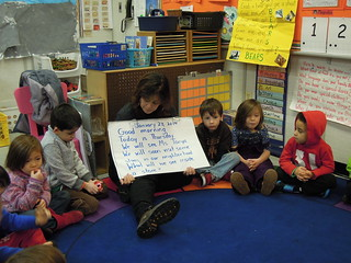 Vivian Lipman, a pre-k teacher at PS 261, leads her students in circle time.