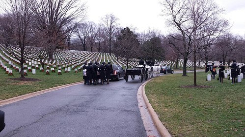 A processional for Lt. Col. Roger Walden enters Arlington National Cemetery. (Donna Sinclair)