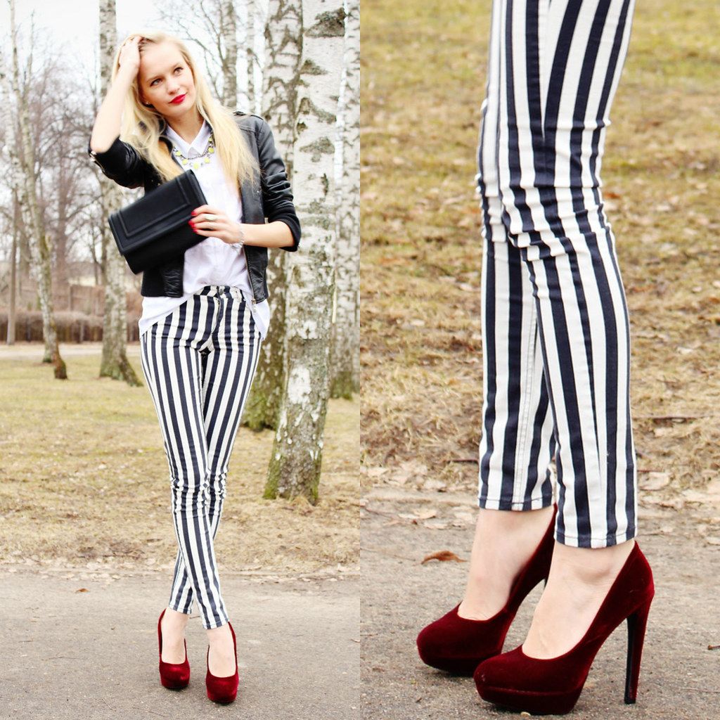 red velvet heels from H&M, black and white striped jeans from H&M, leather jacket from New Yorker blonde latvian girl with red lips