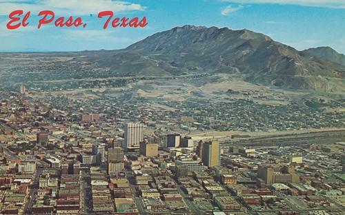 vintage texas view postcard aerial elpaso