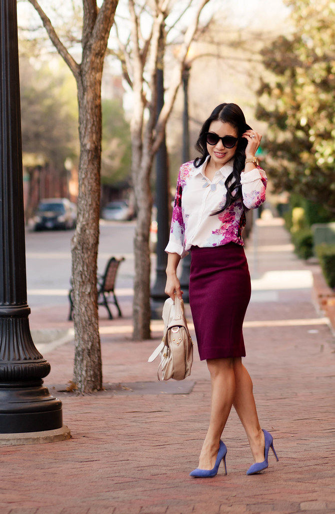 cute & little blog | petite fashion | rosy pink floral shirt, burgundy pencil skirt, blue suede pumps outfit