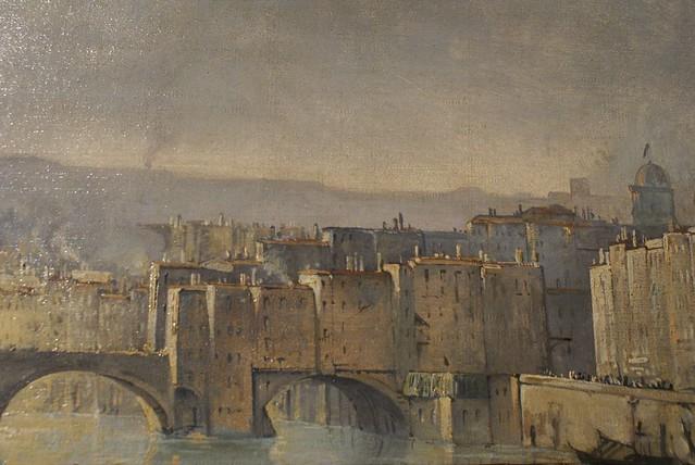 Pont du Change sur la saône à Lyon. Le pont n'existe plus aujourd'hui.