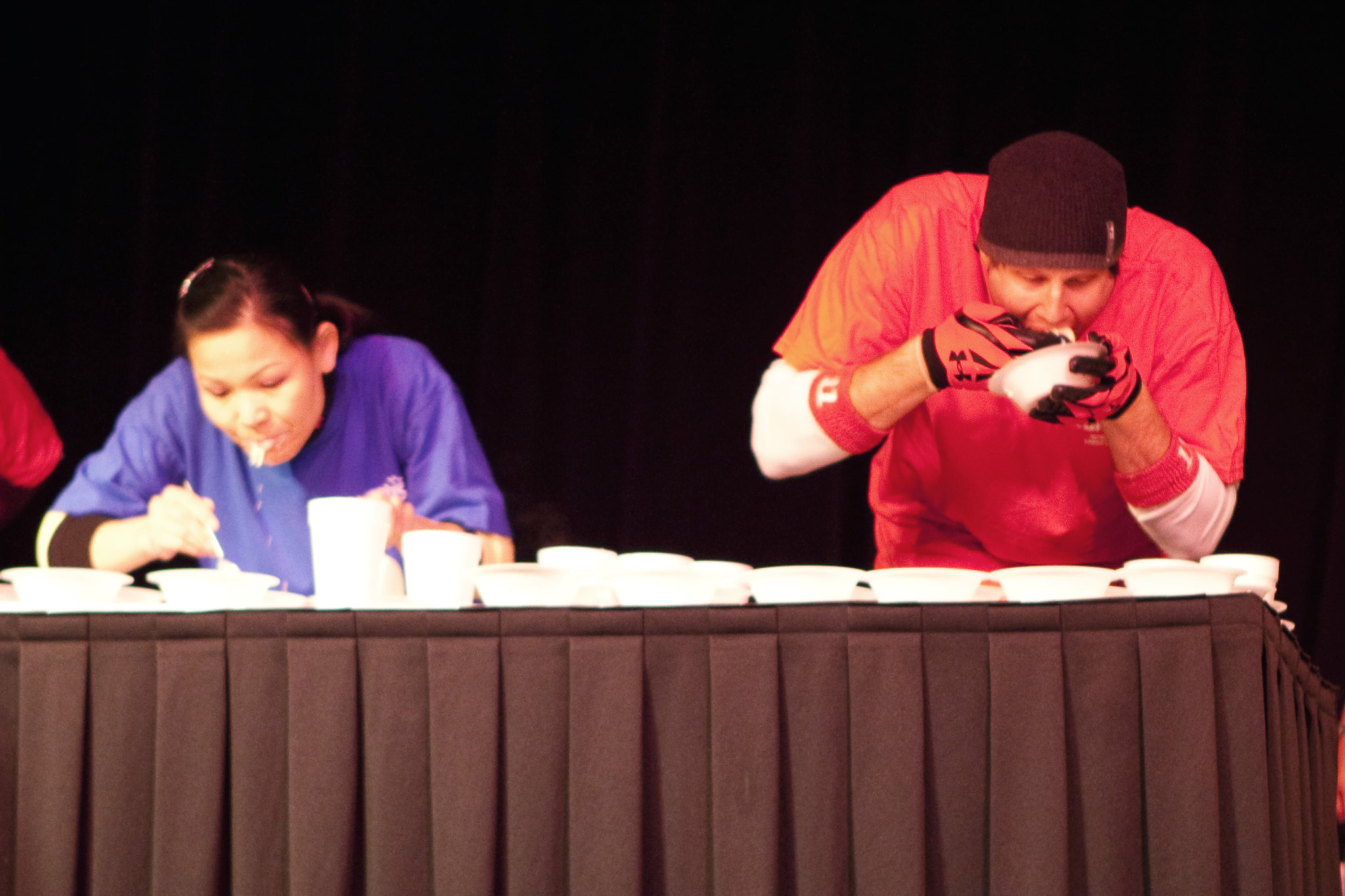 Sonya Thomas and Erik Denmark eat at the Ice Cream Eating Contest at Harrah's Casino in Metropolis, Illinois.