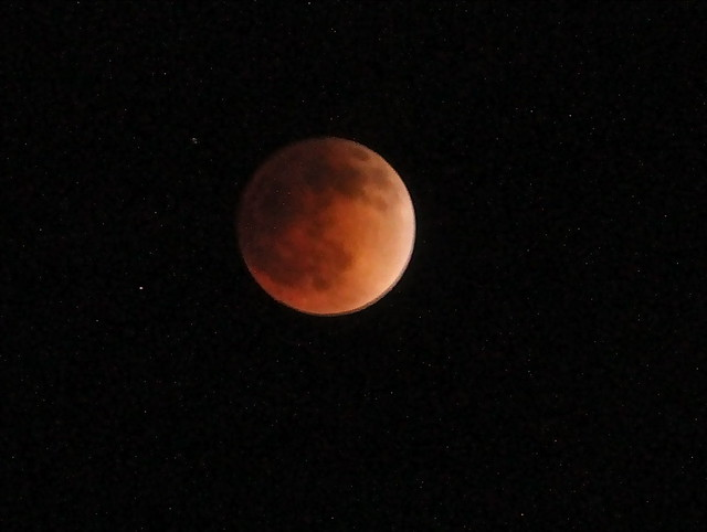 Full lunar eclipse(blood moon) from Griffith Park Observatory in Los Angeles, CA